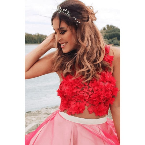 brown haired girl in a red wedding dress
