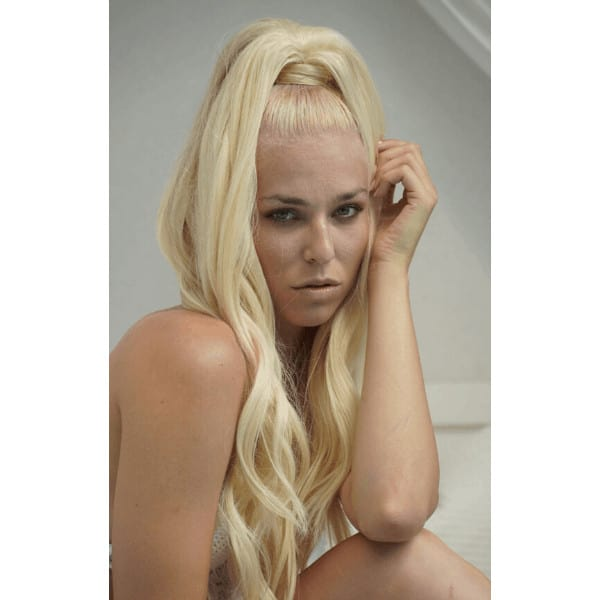 platinum blonde girl with a high ponytail