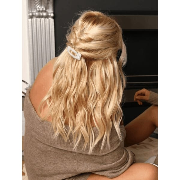 platinum haired girl with cute hairstyle
