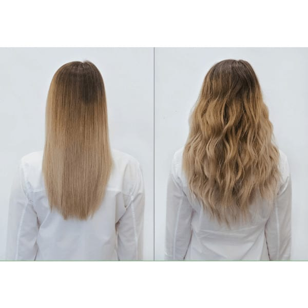 before and after picture, without and with Ashlynn Braid Hair