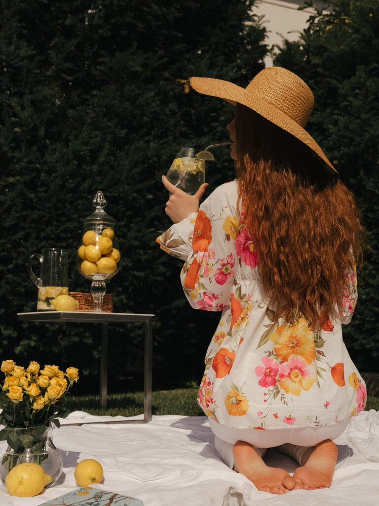 Picnic with ginger girl and lemonade