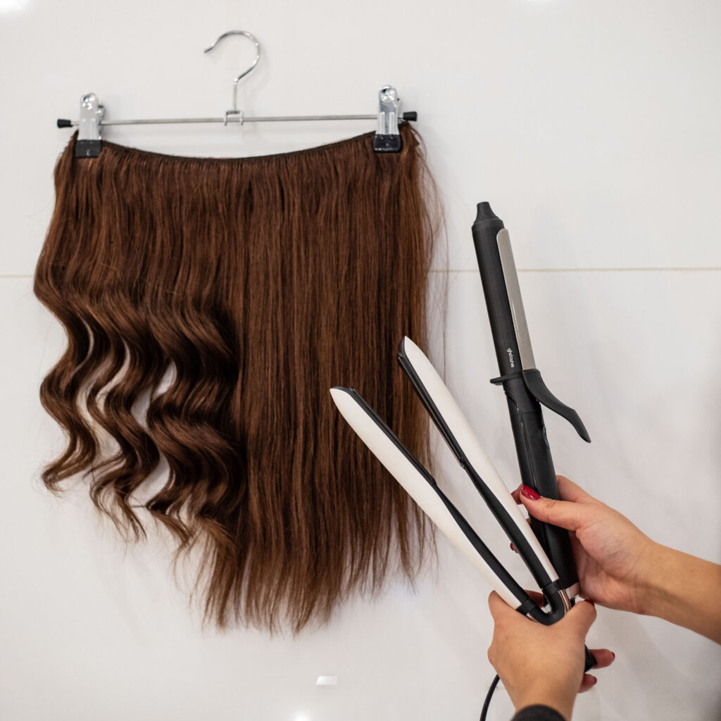 using hot styling tools on your halo hair extension