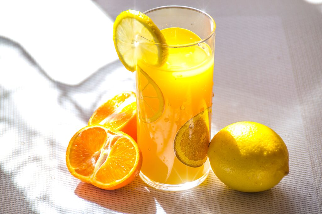 orange lemon and fresh orange juice