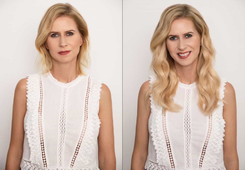 előtte és utána kép, vékonyszálú hajú nőről